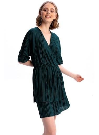 Emjey Kruvaze Yaka Full Piliseli Elbise Yeşil